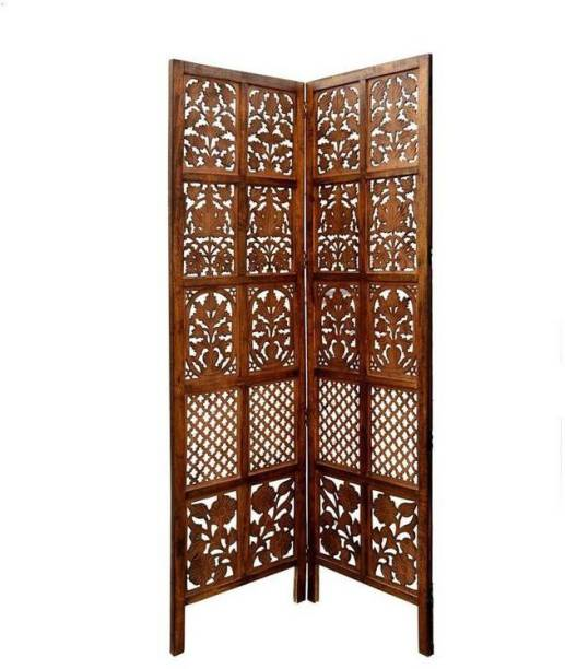 Decorhand Handcrafted 2 Panel Wooden Room Partition & Room Divider (Brown) Solid Wood Decorative Screen Partition Solid Wood Decorative Screen Partition