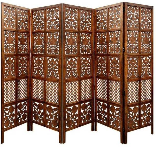 Decorhand Handcrafted 5 Panel Wooden Room Partition & Room Divider ( Brown) Solid Wood Decorative Screen Partition Solid Wood Decorative Screen Partition