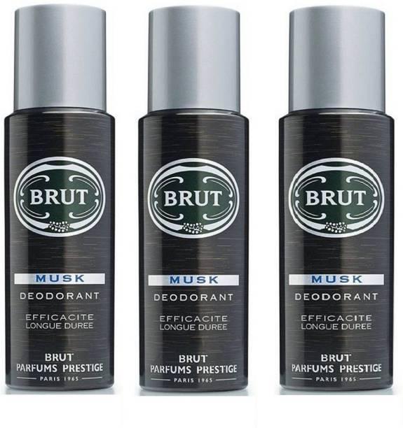 BRUT Musk Deodorant for Men   Long Lasting & Elegant Musky Fragrance 3x200ml Deodorant Spray  -  For Men