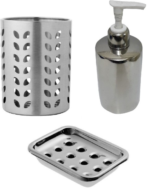 Dynore 3 Pcs Stainless Steel Bathroom Set   Soap Dispenser, Tooth Brush  Holder And Soap