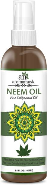 aromamusk USDA Organic 100% Pure Cold Pressed Neem Oil For Hair, Skin & Nails - Natural Insect Repellent Hair Oil