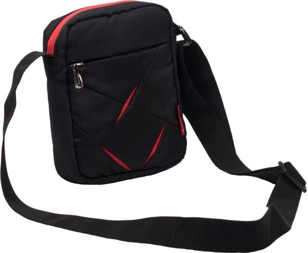 Cosmus Men Casual Black Polyester Sling Bag