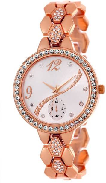 Wanton Rose gold crystal studded chronograph bracelet strap beautiful women Watch - For Girls