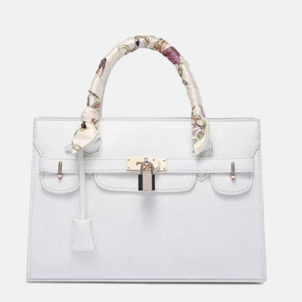 Lacira Cross Pattern Designer Handbag White Waterproof Shoulder Bag