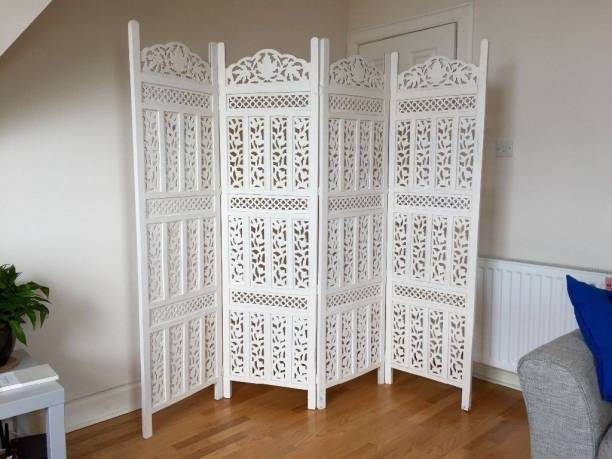 Decorhand Handcrafted 4 Panel Wooden Room Partition & Room Divider (White) Mango Wood Decorative Screen Partition Solid Wood Decorative Screen Partition