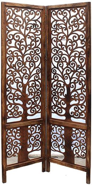 Decorhand Handcrafted 2 Panel Wooden Room Partition & Room Divider ( Brown) Mango Wood Decorative Screen Partition Solid Wood Decorative Screen Partition