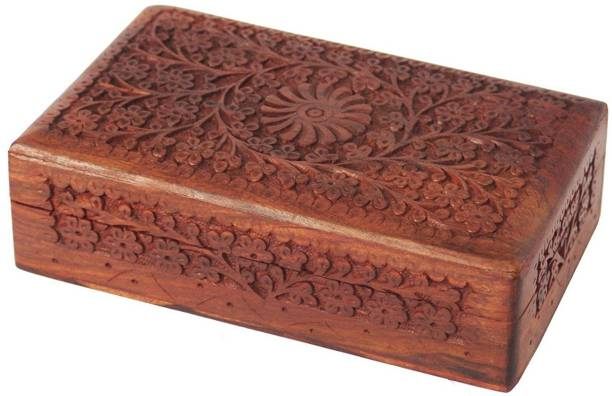 WoodCart H@ndmade Wooden Jewellery Box for Women Jewel Organizer Hand Carved with Intricate Full Kashmiri Carvings Desgin - 8 Inch Makeup, Jewellery & other Utility Vanity Box