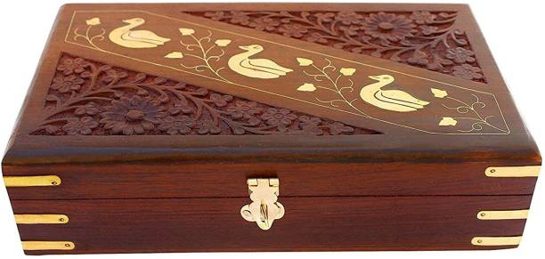 WoodCart H@ndmade Wooden Jewellery Box Hand Carved Carvings Gift Items With Brass Duck Inlaid Work - 10 Inches Makeup, Jewellery & other Utility Vanity Box
