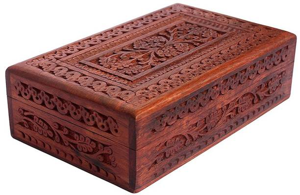 WoodCart H@ndmade Jewellery Box for Women Wooden Jewel Organizer Hand Carved with Mugal Carvings - 8 Inches Makeup, Jewellery & other Utility Vanity Box