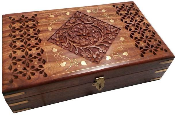 WoodCart H@ndmade Wooden Jewellery Box for Women Jewel Organizer Hand Carved with Diamond-Brass-Jali Design - 10 Inches Makeup, Jewellery & other Utility Vanity Box