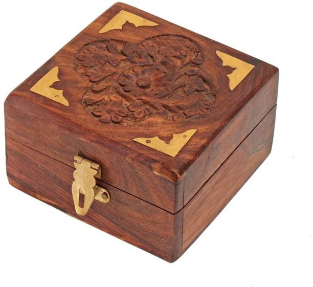 WoodCart Wooden Jewellery Box for Ring & Earing Box Square Carving with Brass Corner H@ndmade 4 Inch - Sulfi Design Makeup, Jewellery & other Utility Vanity Box