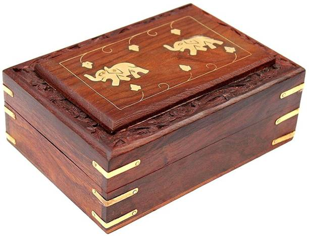 WoodCart Wooden H@ndmade Multi Purpose Box with Two Elephant on Top - Frame Design Makeup, Jewellery & other Utility Vanity Box