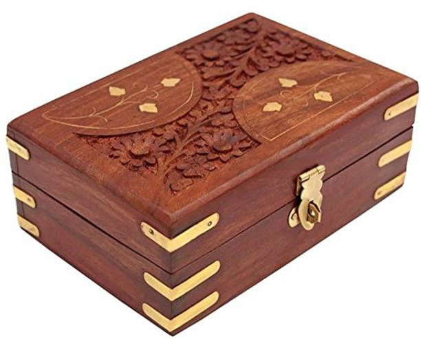 WoodCart H@ndmade Wooden Jewellery Box for Women Jewel Organizer Carving & Brass Inlaid - D-Design 6 Inches Makeup, Jewellery & other Utility Vanity Box