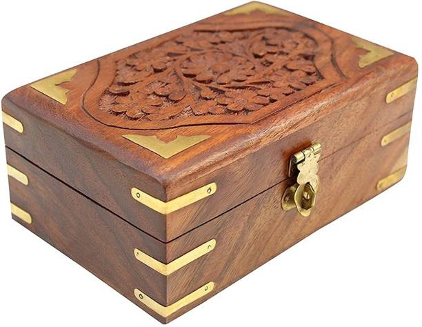 WoodCart Wooden H@ndmade Box for Women Jewel Organizer Hand Carved Carvings Gift Items Sulfi Design 6 Inch Makeup, Jewellery & other Utility Vanity Box