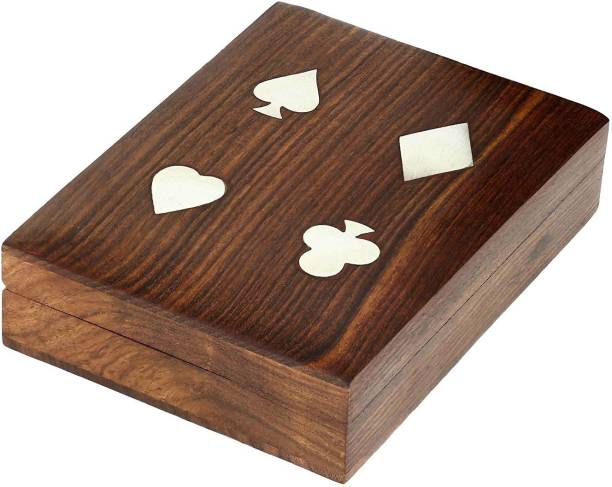 WoodCart H@ndmade Wooden Playing Card Deck Holder Cards Decks Vintage Brass Inlay Box Makeup, Jewellery & other Utility Vanity Box