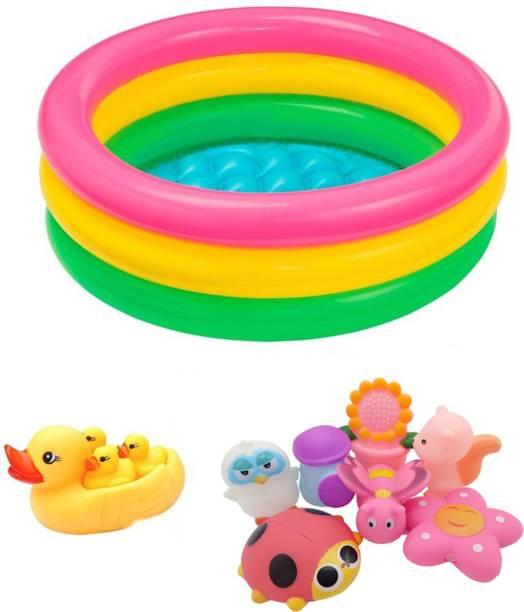 PRESENTSALE 2 Foot Baby Bath Tub With pack of 11 Sounding chu-chu Bath Toy Bath Toy