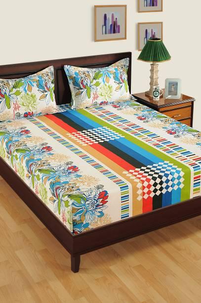 SWAYAM 200 TC Cotton Single Floral Bedsheet