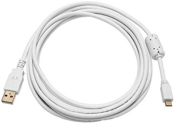 C&E  TV-out Cable 10ft USB 2.0 A Male to Micro 5pin Male 28/24AWG Cable w/ Ferrite Core (Gold Plated) - WHITE