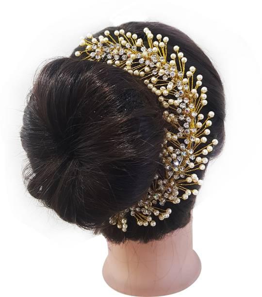 cdabb7a2f1 Kabello South Indian Pearls Design Hair gajra / hair Accessories For Women  Weddings Hair Band,