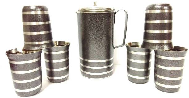 Mahavir ME6GLASSWJ-BLACK Jug Glass Set