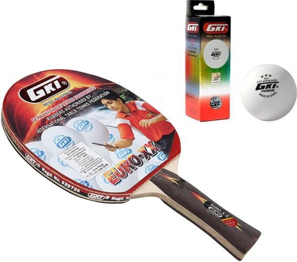 GKI Euro XX Table Tennis Combo Set (Euro XX Table Tennis Racquet + Premium 3 Star 40 Table Tennis Ball, Box of 3 - White) Table Tennis Kit