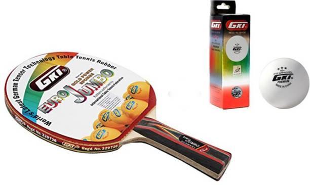 GKI Euro Jumbo Table Tennis Combo Set (Euro Jumbo Table Tennis Racquet + Premium 3 Star 40 Table Tennis Ball, Box of 3 - White) Table Tennis Kit