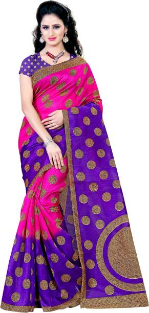 KARA Embellished, Polka Print Bhagalpuri Cotton Silk Saree