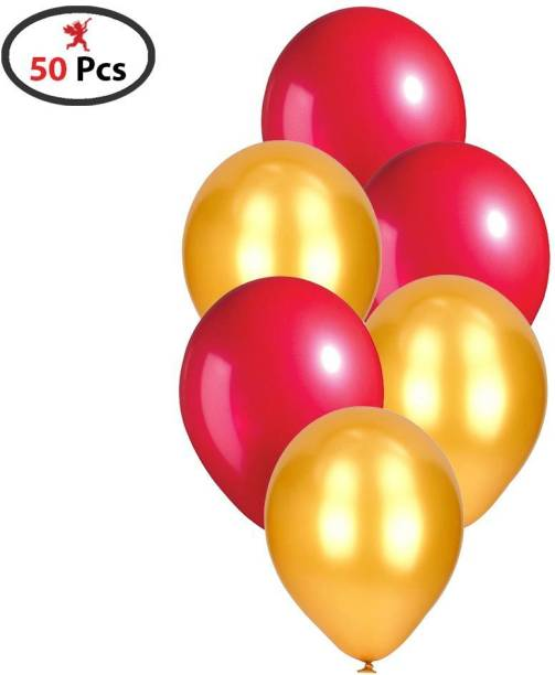 PARTY PROPZ Solid GOLDEN AND RED METALLIC BALLOON SET OF 50 DECORATION CHRISTMAS