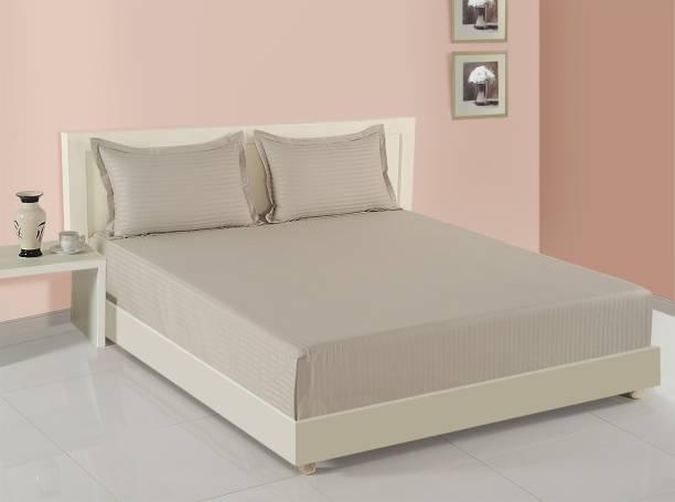 SWAYAM 400 TC Cotton Double King Striped Bedsheet