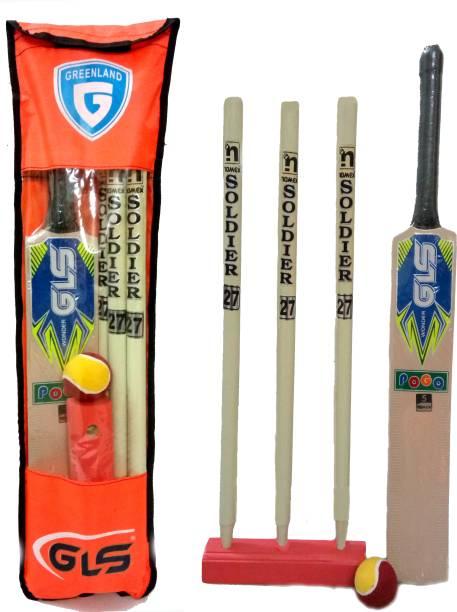 GLS Junior Cricket Combo Kit Bag - 1 Bat 3 Wickets 1 Wicket Base 1 Cricket Ball & 1 Kit Bag Cricket Kit