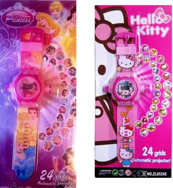 MAHVI TOYS Combo of Hello Kitty & Princess Projector Wristband - 24 Images