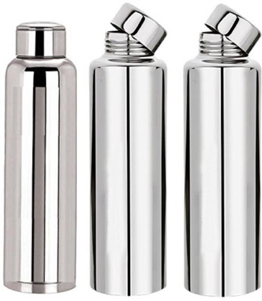 KUBER INDUSTRIES Stainless Steel Fridge Water Bottle/Refrigerator Bottle/Thunder (1000 ML)-Kitchenware Set of 3 Pcs (Code-BT19) 1000 ml Bottle