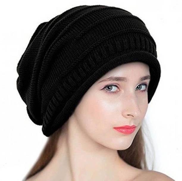 186f4b06 Babji Black Slouchy woolen Long Beanie Cap for Winter skull head Unisex Cap