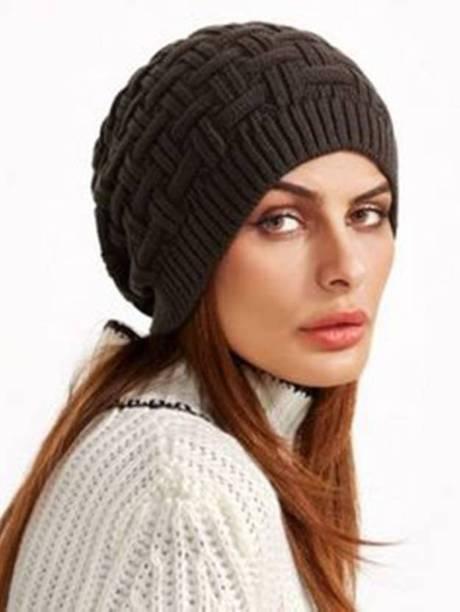 ff5a2abf98f BOLAX Black Slouchy woolen Long Beanie Cap for Winter skull head Unisex Cap