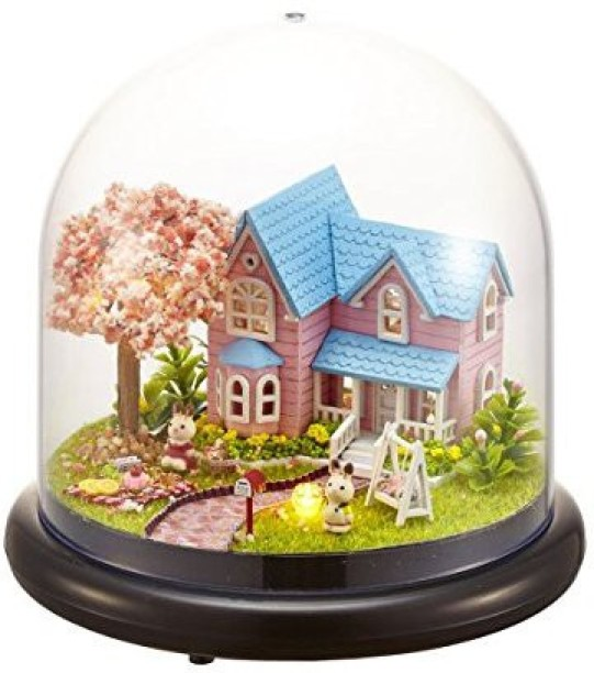 1:32 Cuteroom Dollhouse Miniature Provence House DIY Kit With Cover And LED