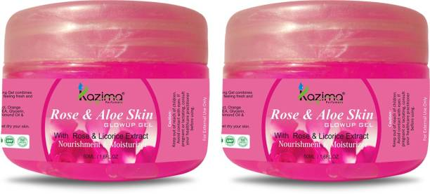 KAZIMA Rose & Aloe Skin GLOWUP GEL With Rose & Licorice Extract For Nourishment & Moisturizer ( 50 ML Pack of 2 )