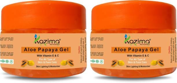 KAZIMA Aloe Papaya Gel With Vitamin E & C - Skin Lighting & Moisturizer For All Type of Body, Skin, & Face ( 50 ML Pack of 2 )