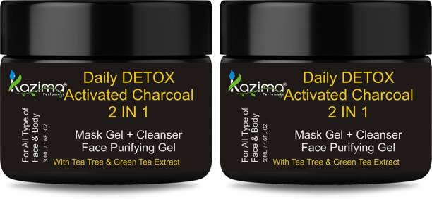 KAZIMA Daily DETOX Activated Charcoal 2 IN 1 Mask Gel + Cleanser Face Purifying Gel - Nourishment & Skin Refresh & Soft ( 50 ML Pack of 2 )
