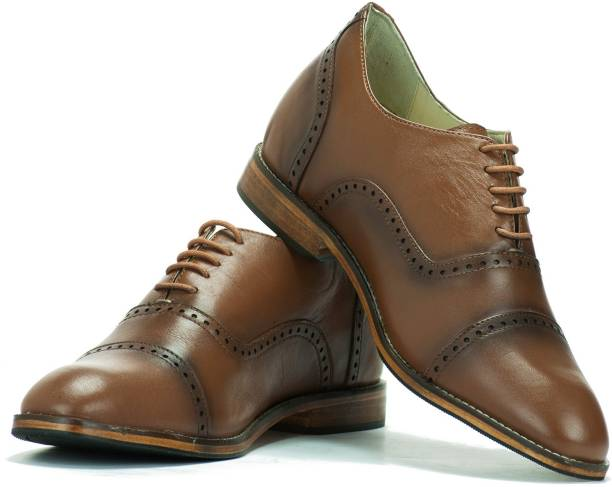 new arrival 79f93 92f43 Elevato Elevato height Increasing Tan Leather Shoes - Oxford Classic 3  Inches Oxford For Men
