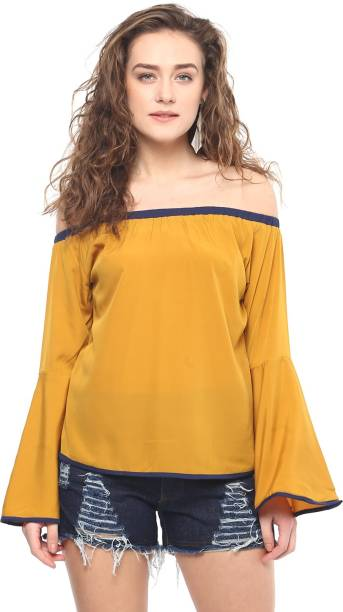 b7a8483c02e03a Mayra Casual Bell Sleeve Solid Women s Yellow Top