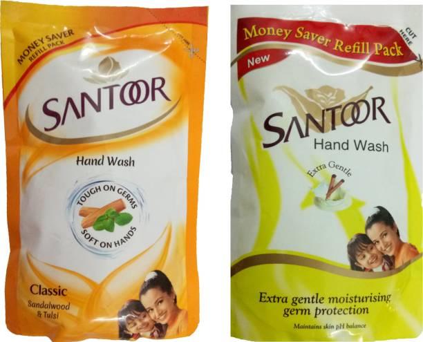 santoor CLASSIC SANDALWOOD & TULSI HAND WASH 180 ML+ EXTRA GENTLE MOISTURISING GERM PROTECTION HAND WASH 180 ML Hand Wash Pouch
