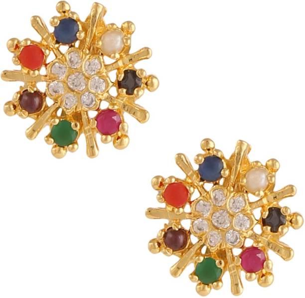33f554b2268 farid enterprises FASHION DIVA NAVRATNA MULTICOLOUR EARRING SET Ruby Brass  Stud Earring