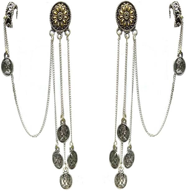 08a30494f Gurjari Oxidised Two Tone Tops + long chain coin hanging + attached  pressable Earing Metal Dangle