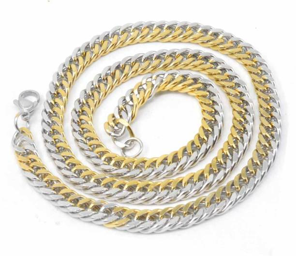 Men Style Mens 6mm Thickness Curban Curb Gold-plated Plated Stainless Steel Chain