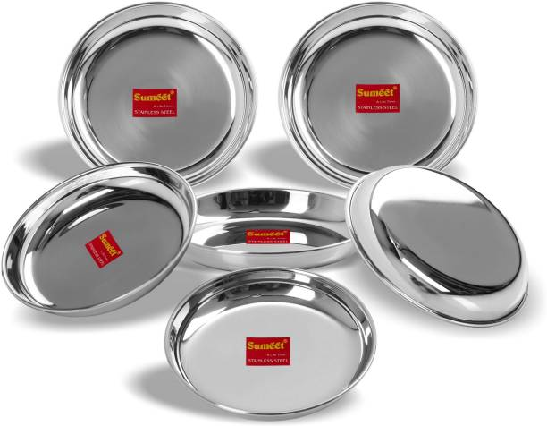 Sumeet Stainless Steel Heavy Gauge Medium Halwa Plates with Mirror finish 17cm Dia - Set of 6pc Quarter Plate