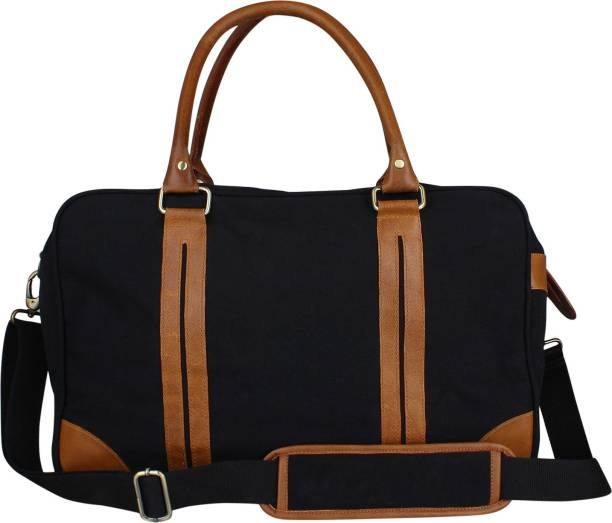 Zobello 17 inch 43 cm Genuine Leather Dyed Canvas Duffle Bag Travel Duffel  Bag 518c2d0ca48b4