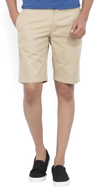 Indian Terrain Solid Men S Brown Chino Shorts