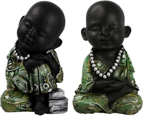 AapnoCrafts Set of 2 Child Monk Decorative Showpiece  -  14 cm