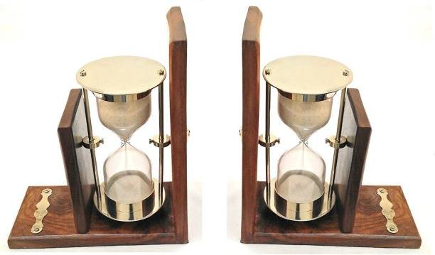 Artshai Premium Set Of 2 Wooden Bookends With Sand Timers For Book Shelf