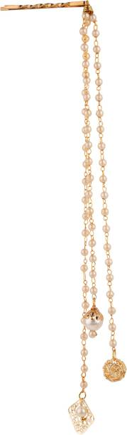 AccessHer Gorgeous Stylish Golden Booby Pins with chain and drops for women and girls Back Pin